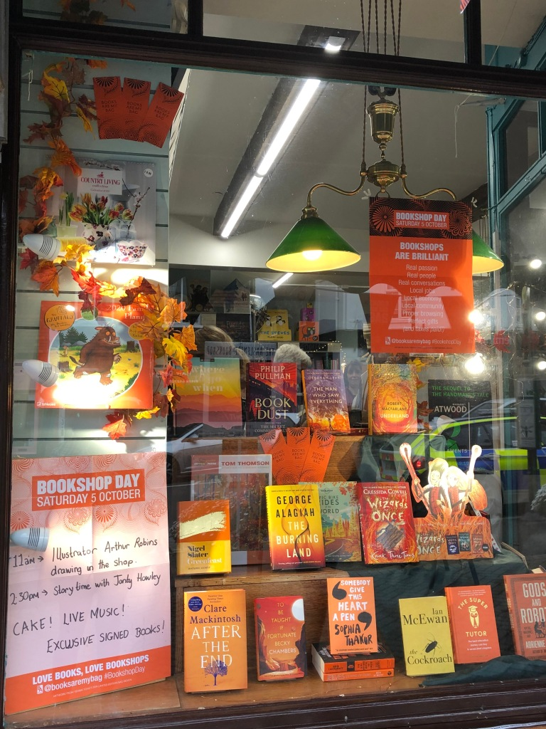 Haslemere Bookshop window decorated for Books Are My Bag Bookshop Day