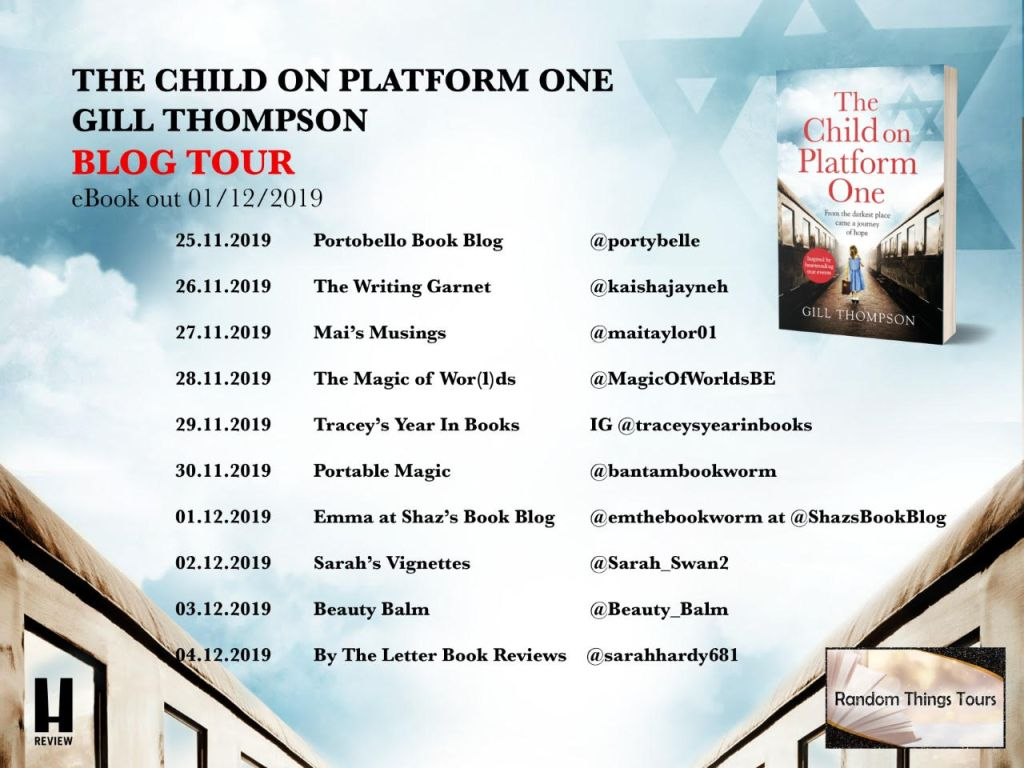 Blog tour poster: The Child on Platform One by Gill Thompson