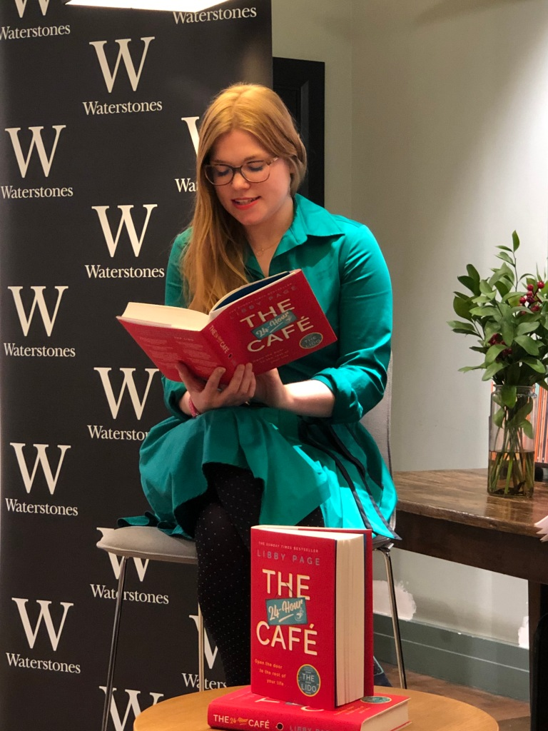 Libby Page reading from The 24-Hour Cafe at a Waterstones Piccadilly event